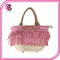 China suppliers wholesale tassel fringe pu handle moroccan straw tote beach bag mexico