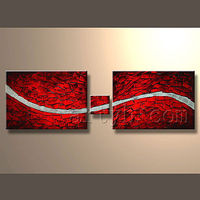Red & white knife group canvas oil painting
