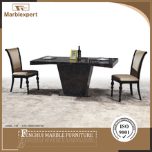 Brown hotel marble top dining table and chair set