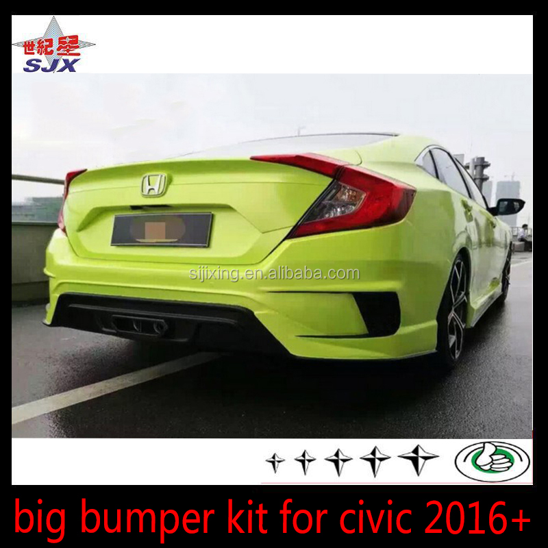 Auto prats big bumper for civic 2016+ plastic material car body kit for car