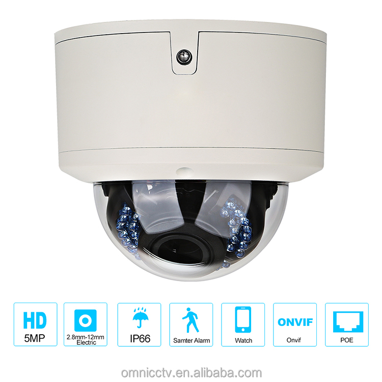5MP Security Dome IP Camera 2.8-12 mm Electric Zoom HD IR Night Vision POE