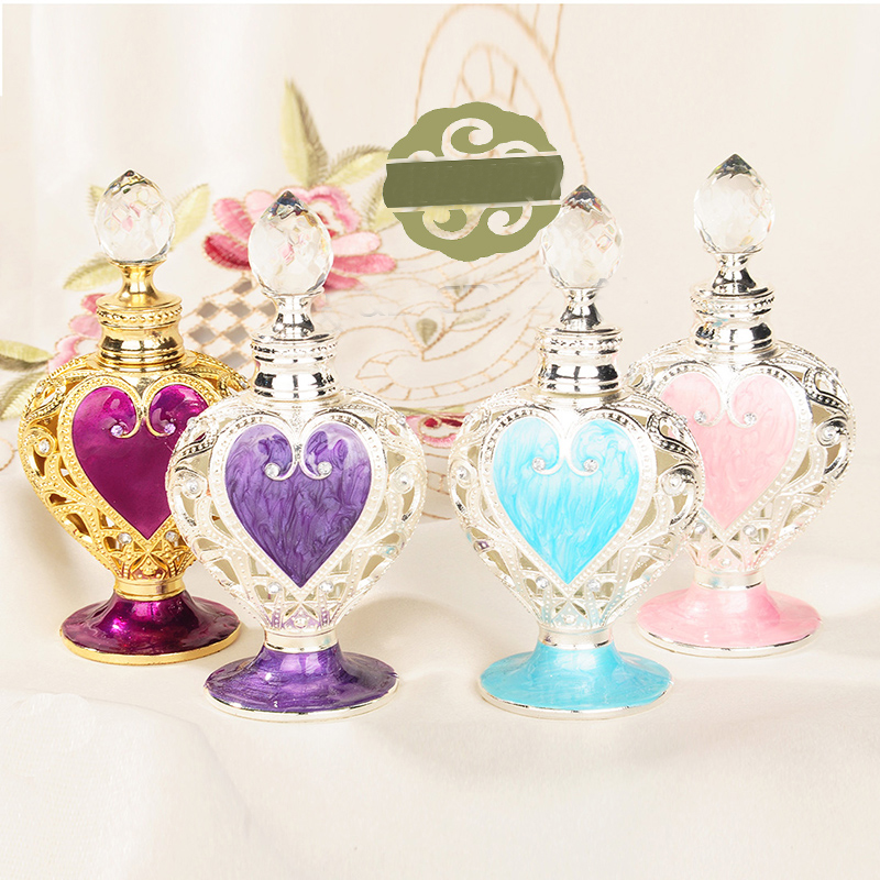 50036 High Quality Vintage CrysGlass Refillable Wedding Gifts Metal lid Essential Oil Bottle Hollow Heart Shape Perfume Bottle