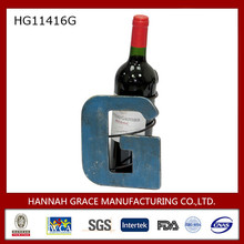 Iron Letter G Shaped Wine Bottle Holder Stand