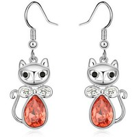 pretty cat earrings plated gold jewel with swarovski crystal
