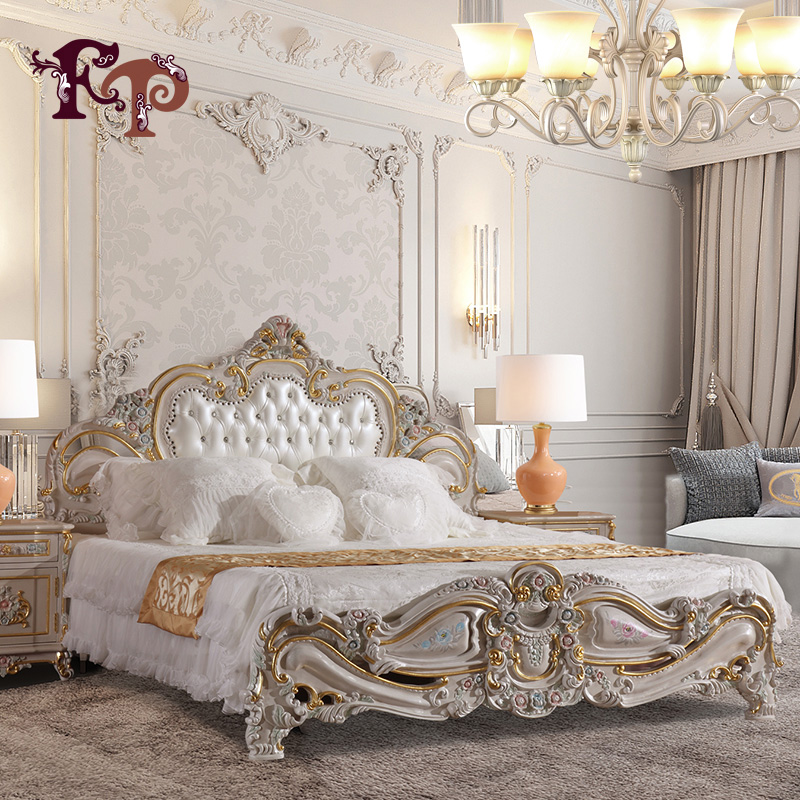 antique hand carved <strong>bed</strong> luxury Europe style bedroom furniture classical leather <strong>bed</strong>