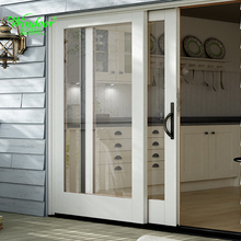 3-track Two Panels PVC Patio Sliding Doors, Kitchen Panel Track Sliding door, UPVC glass sliding patio doors