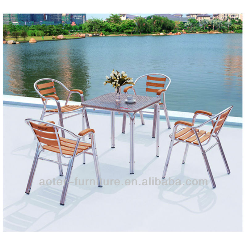 2016 hotsale garden sets wooden aluminum frame heb patio furniture