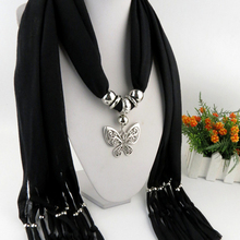 SF17224038 Brand new fashion style New alloy Scarves Metal Butterfly Pendant scarf Women Shawl