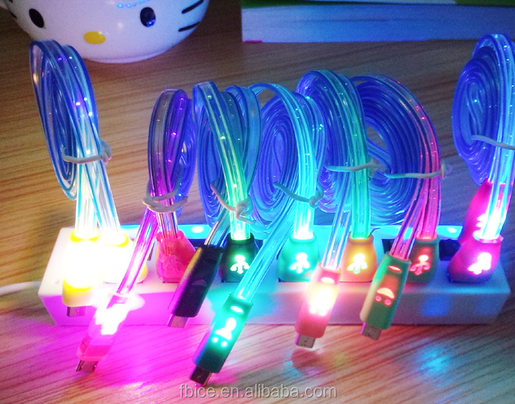 special price multi color smile face glow in the dark charging data cable for iPhone Samsung