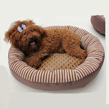 Factory supply hot selling oxford cloth oval white iron pet bed for dogs