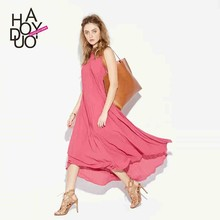2016 New Women Candy Color Fold Chiffon Long Maxi Dress with Bow on Back Dresses for Wholesale Haoduoyi