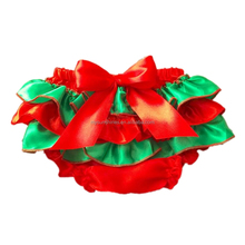 2017 Christmas Cute Red Satin Underwear Wholesale Baby Ruffle Bloomers