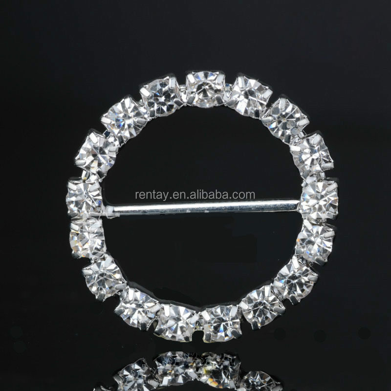 Wholesale 23*23mm Silver Metal <strong>Crystal</strong> Round Rhinestone Buckles for Wedding Invitation