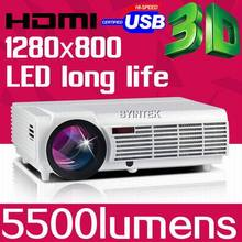 BYINTEK BT96 5500lumens Video USB TV Full HD 1080P Home Theater 3D LED Projetor Beamer