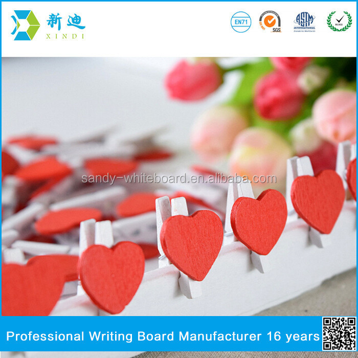 Lanxi xindi wooden red heart photo meno clip for home decoration