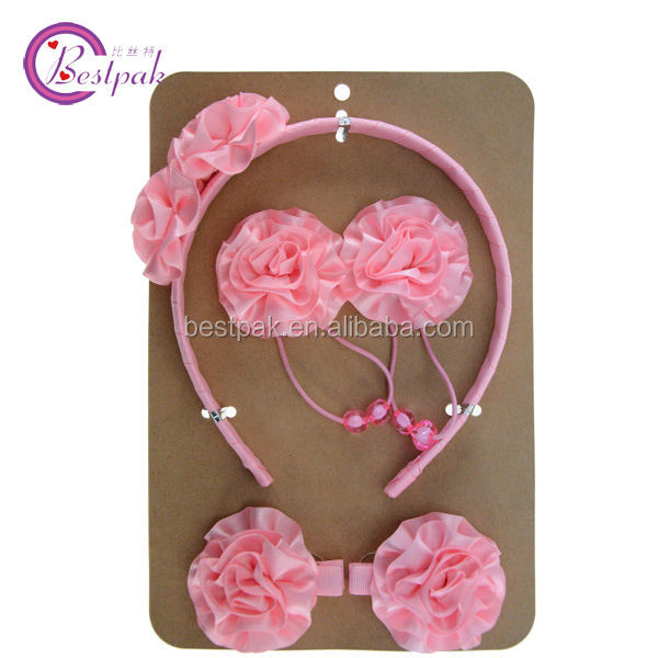 handmade beaded fancy pink rosette hair accessories