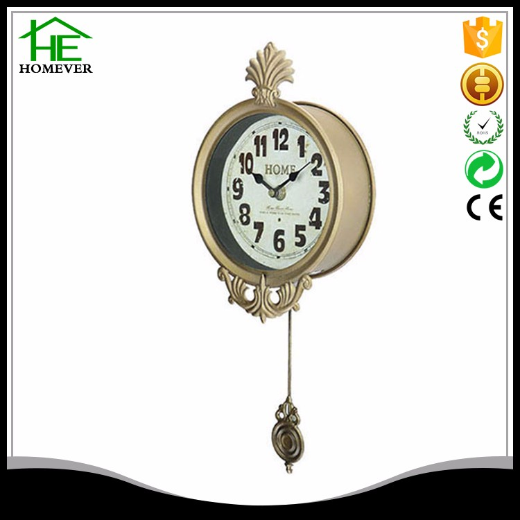 6 inch old shabby gold pendulum sway wall clock with mirror