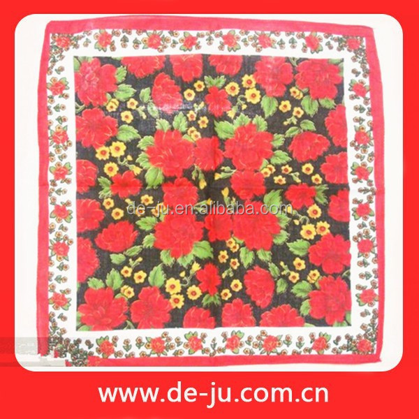Embroidered Printing Promotion Colorful Fancy Handkerchiefs