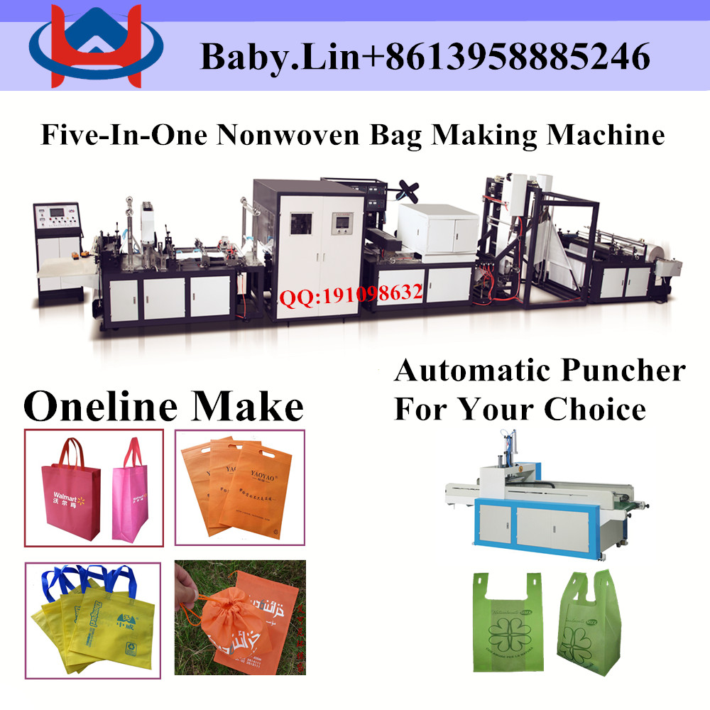 The latest design automatic non woven bag making machine with online handle attach
