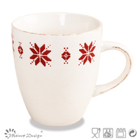 stamp crockery round stoneware mug with red rattan decoration