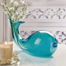 Wholesale handmade mouth blown light blue crystal glass decoration creative table flower vase