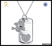 Rhodium Plated CZ Skull and Crossbones Dog Tag Pendant Necklace 18inch Jewelry