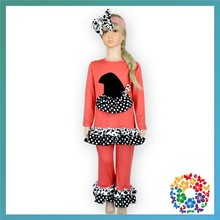 wholesale children fall boutique clothing set cute halloween ruffle long sleeve shirt and long pant outfits for babies