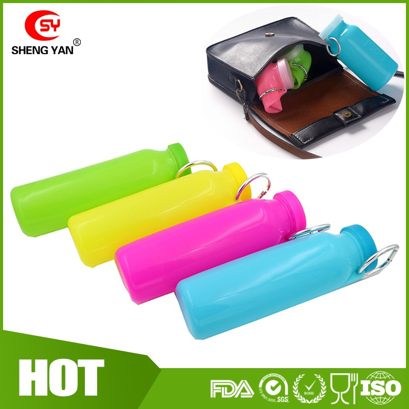 20 oz Capacity Collapsible Sports Water Bottle , BPA Free Foldable Silicone Water Bottle For Bike / Hiking