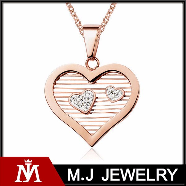 Simple Design Rose Gold Heart Pendant Necklace Love Hollow Crystal Charm