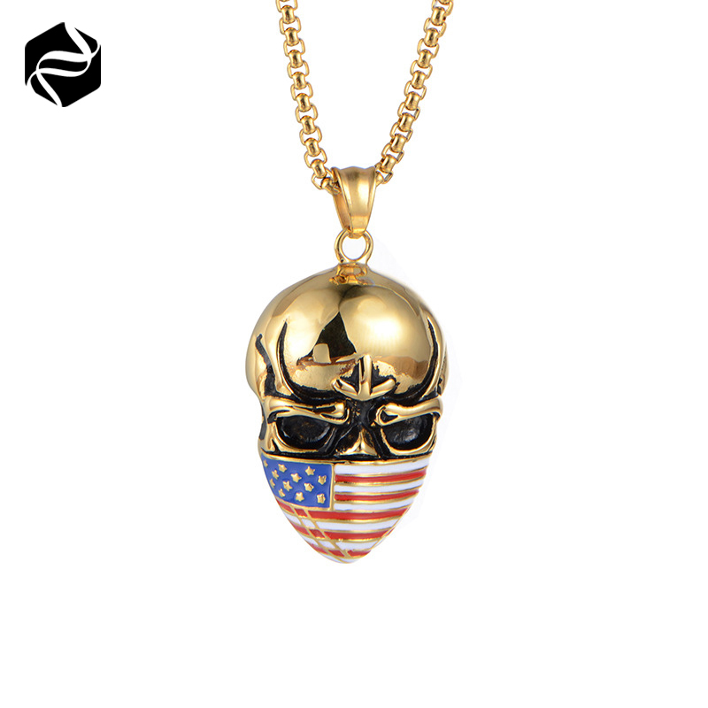 Hot Sale 18k Gold Plated Skull USA Flag Pendant Necklace Jewelry Manufacturer Wholesale For Men