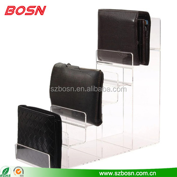 High quality 6 tier clear acrylic wallet stand display case rack for retail store