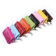 Genuine leather keychain wallet,debossed faux PU key chain purse bag,snap ring keyring handbag money clip billfold bifold pouch