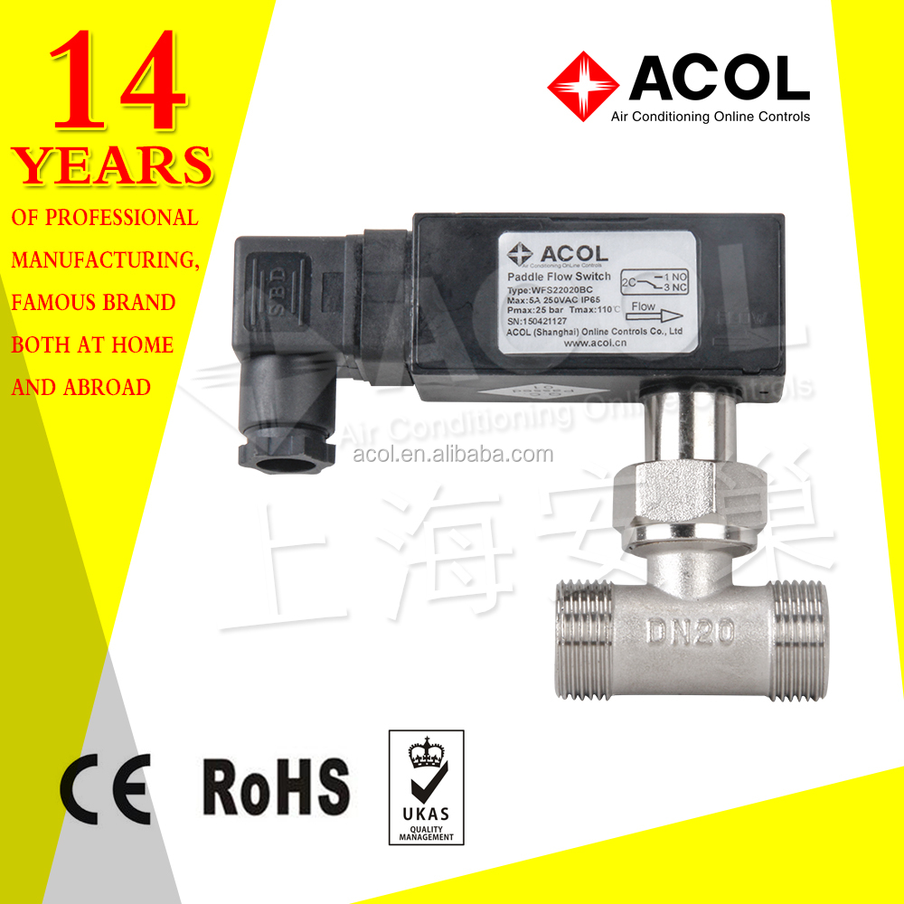 Water paddle flow switch for heat pump