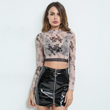 NJ1945 Wholesale sexy transparent printed women long sleeve blouses