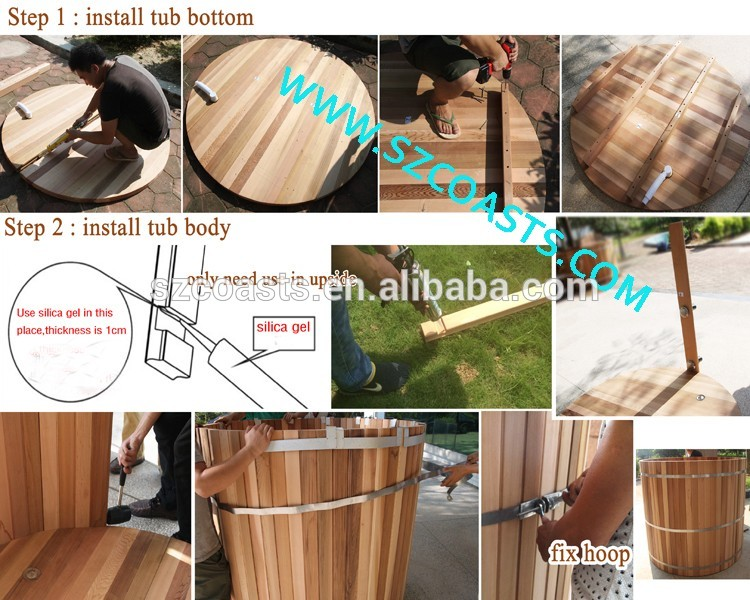 1.8m 3~4 people Chinese Red cedar outdoor wood fired hot tub on sale