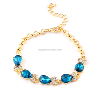 Wholesale Bulk Gold Jewelry Blue Crystal Bracelet With Extension Chain