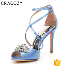 Gracozy New Product Ladies Fancy Jewelry Wedding Satin Dress Sandals Women bridal Shoes