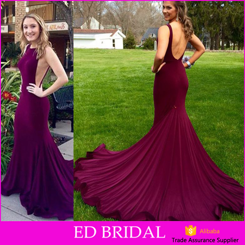 Sexy Backless Long Wine Red Jersey Evening Dress 2016