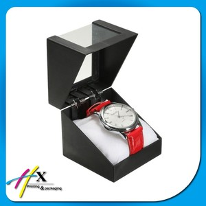 Square Shaped Luxury Plastic Watch Box with Pillow Inside