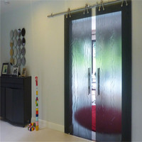 Frameless Large Interior Glass Tinted Frosted Sliding Doors With Customized Decorations