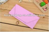Korean New Style Unisex PU leather envelope shape vivid color wallet
