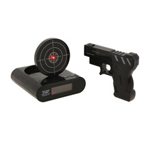 Wholesale Wake Up action Jual fire red led pistol Laser Cible Gadget Jouet Gun And Target Recordable shooting Alarm Clock