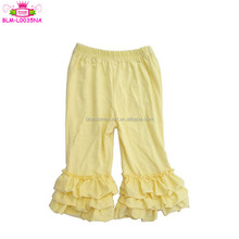 2017 Fall stretch cotton ruffle pants baby infant clothing leggings new design children wear kid 3 layers triple ruffles pants