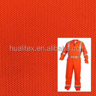 Fire/water proof high visibility fluorescent polyester oxford fabric for coverall/ work apparel