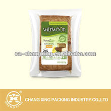 Transparent resealable vacuum food storage bag for baked tofu packaging