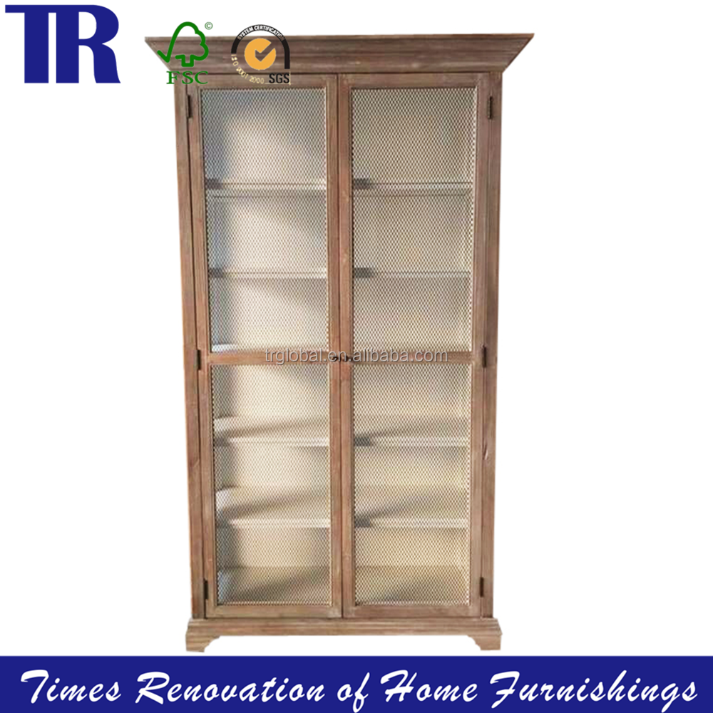 display cabinet ,vintage display cabinet with 2 wire-mesh door,classic style wood display cabinet