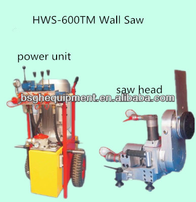 reinforced structure HWS-600TM hydraulic wall saw cutter cutting concrete wall road