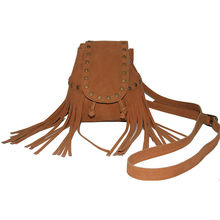 Tan color faux suede drawstring mini fringe bags for girls