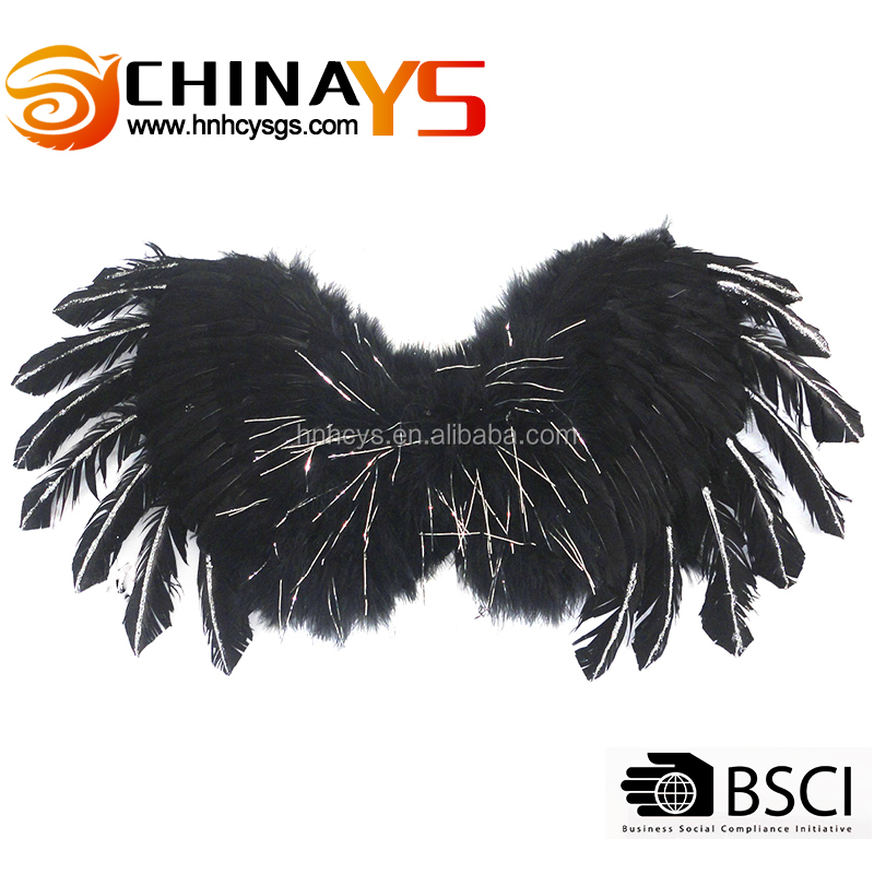 80x40cm Beautiful cheap angel black feather costume wings for sale