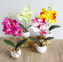 4 Fork Wholesale Potted Phalaenopsis Orchid Plants Bonsai Artificial for Room Table Decoration